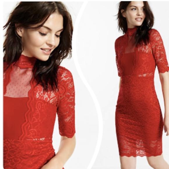 f1056f65bd746 Express Dresses   New Red Lace Mock Neck Sheath Dress Xs   Poshmark